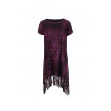 AVANT TOI Damen Longshirt mit Fransen schwarz rot