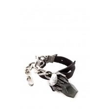 GOTI Lederarmband mit Silberknospe BR1131 silber schwarz