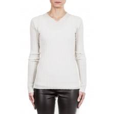 Helmut Lang Damen Pullover Ripp V-Neck off white