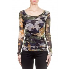 FUZZI Damen Langarmshirt Camouflage multicolour