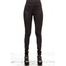 Isabel Benenato Leder Leggings schwarz