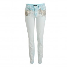Just Cavalli Jeans with studs in acid light blue