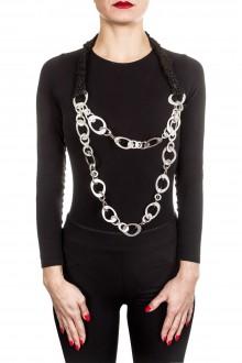 Claudio Cutuli Halskette FAGIUS mit Leder und Silberingen silber schwarz