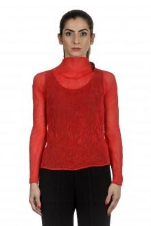 Issey Miyake Damen Plissee Turtleneck Shirt rot