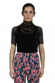 Issey Miyake Damen Plissee Turtleneck Shirt schwarz
