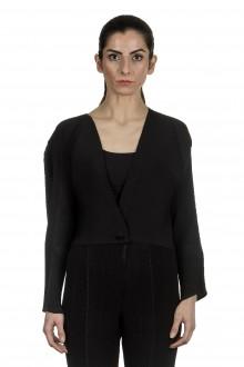 Issey Miyake Damen Plissee Cropped Cardigan schwarz
