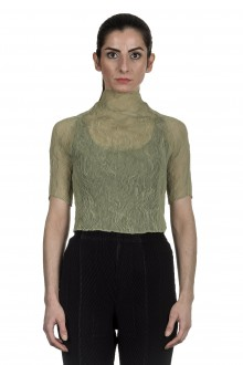 Issey Miyake Damen Plissee Turtleneck Shirt grün