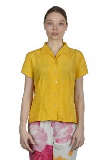 Katharina Hovman Damen Bluse mit Umlegekragen gelb