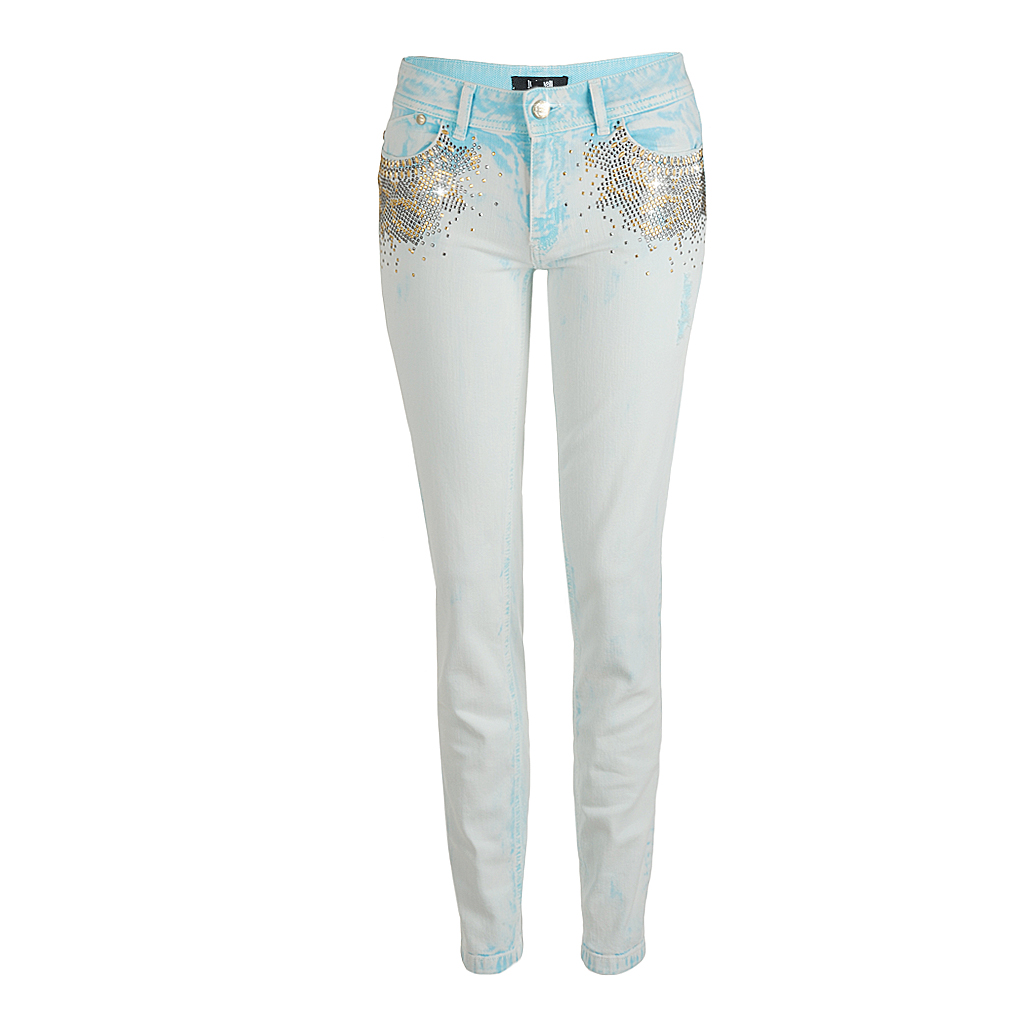 Hosen - Just Cavalli Jeans with studs in acid light blue  - Onlineshop Luxury Loft